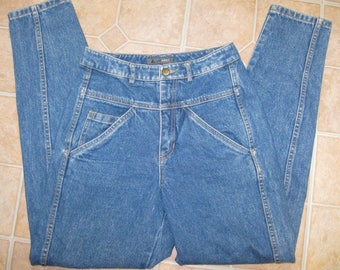 Vintage 80s High Waist Tapered Acid Wash Blue Denim Mom Jeans 26 x 31 size 8