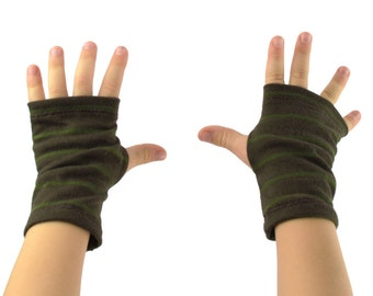 Toddler Arm Warmers in Brown and Olive Green Stripes - Fingerless Gloves