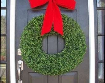 CHRISTMAS WREATH SALE Xl Holiday Faux Boxwood Wreath, Outdoor Christmas Wreath- Christmas Decor- Christmas Decoration- 4 inch Thick Ribbon 2