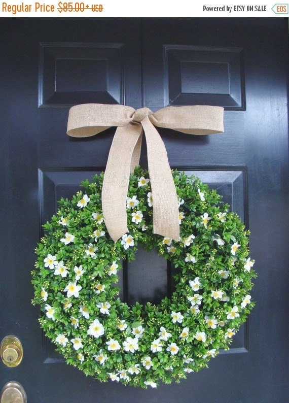 SPRING WREATH SALE Boxwood Wreath Burlap Ribbon, Floral Arrangement, Outdoor Decoration, Spring Wreath, Year Round Wreath, Front Door Floral