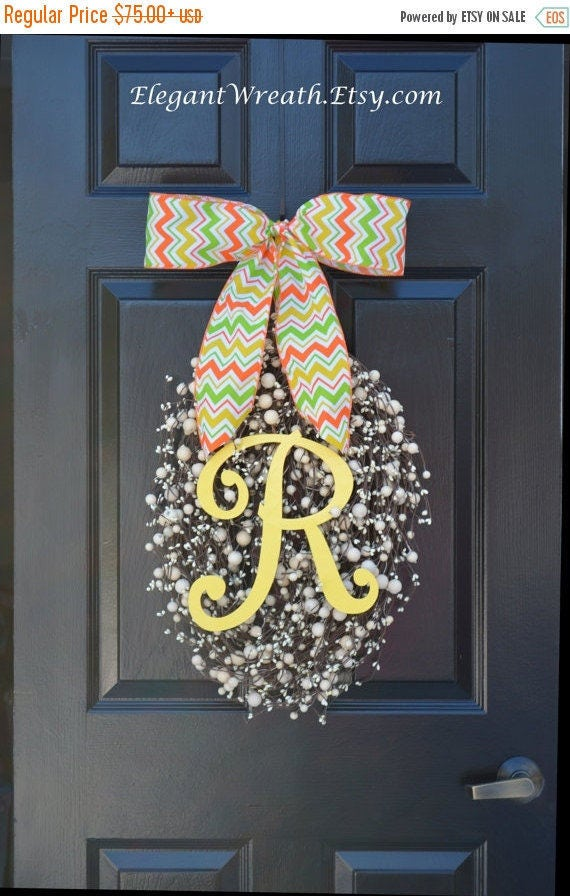 SPRING WREATH SALE Easter Wreath- Easter Decoration- Spring Wreath Easter Egg- Spring Decor- Spring Decoration- Monogram Wreath