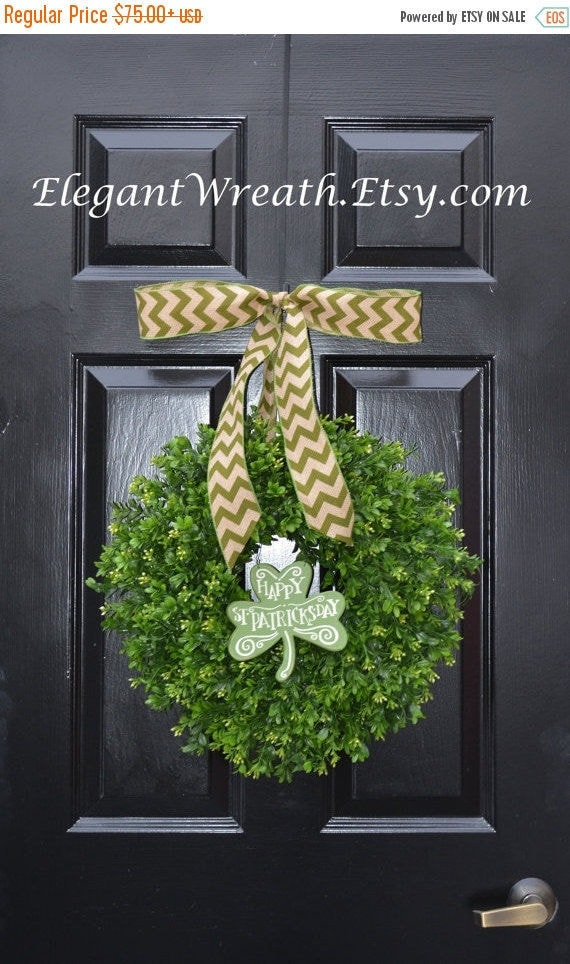 SPRING WREATH SALE Shamrock Boxwood St Patrick Day Wreath, St Pattys Decor- Green Boxwood Wreath- Irish Decor- Door Wreath- Removable Bow Ye
