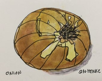 Yellow Onion Original Watercolor ACEO by Nan Henke, sometimes known as an ATC (Artist's Trading Card) 170101