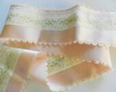 French Ribbon, Hendlers Jacquard Peach Ribbon, Petite Fleur Wide Ribbon, Vintage French Ribbon, 3.50 in wide