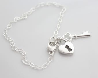 Heart and Key Bracelet, Key To My Heart, Sterling Silver Bracelets, Heart Lock and Key Charm Bracelet, Gifts For Her, Gifts For Girlfriend,