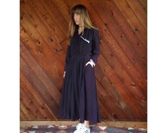 extra 30% off sale . . . Dark Purple l/s Maxi Shirt Dress - Vintage 80s - S