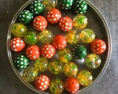 Rare and Stunning Vintage Midcentury Lucite Beads Flecks Confetti Polka Dots Citrus Grove Assortment