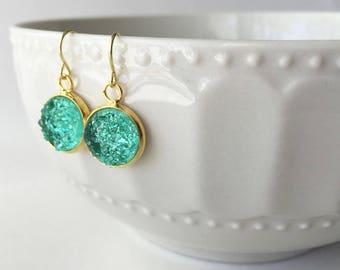 Faux Druzy 12mm, Green Druzy Drop Earring, Gold Druzy Drop Earring, Metallic Earrings, Glitter Drop Earrings