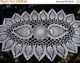 holiday sale New, hand made, double pineapple, oval ,  crochet doily, ready to ship, white