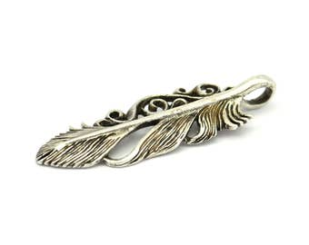 Silver Feather Pendant, 2 Antique Silver Plated Brass Feather Charm, Feather Pendants (46x14mm) N185