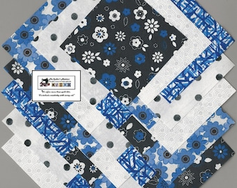"""40~4"""" Blue & Black Floral Fabric Squares/Quilt/Craft/Sewing/Charm Packs #0895"""