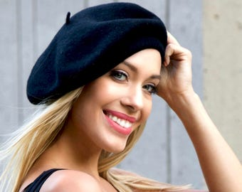 Black Beret Hat Women's Black Wool French Beret Bonnie And Clyde Beret 1930s 1940s Fashion Slouchy Beret Warm Winter Hat Knit Beret