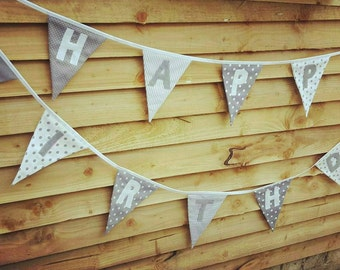 Happy Birthday Banner Bunting Grey and White Custom made to order ideal for a Birthday Party or Celebration or Photo prop