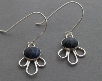 Sodalite Sterling silver earrings, drop earrings, boho, fashion, style - Reflections