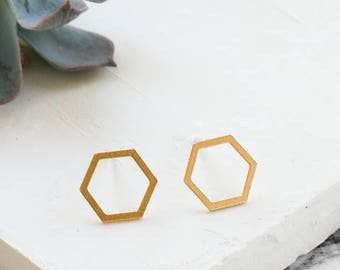 Joni Post Earrings, Hexagon Earrings, Hexagon Studs, Hexagon Post Earrings, Gold Studs, Silver Studs, Geometric Studs, Geometric Earrings