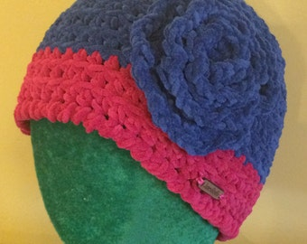 Velour Blue & Pink Crochet Hat with Flower