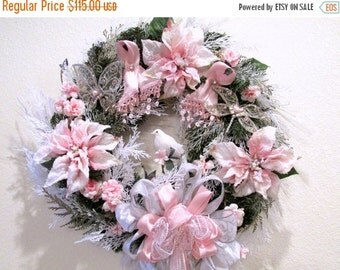 SALE Breast Cancer Victorian Holiday Christmas Wreath with Pink Ribbons, Rhinestone Jeweled Accents, Long Beaded Fringe Bow, white lace and