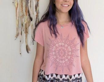 Geometric Mandala Ikat Print Eco Friendly Hippie Top Shirt Upcycled Eco Friendly Tee Tshirt Size Medium/Large