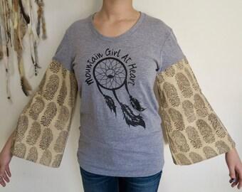 Mountain Girl At Heart India Paisley Bell Sleeve Tee T-shirt Top Shirt Womens Hippie Boho Festival Size Medium