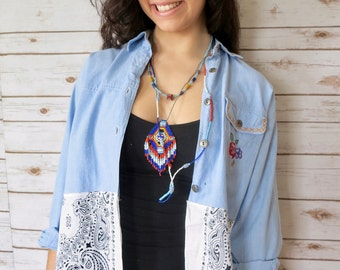 Denim Floral Embroidered Button Up Blouse Bandana Hippie Boho Upcycled Recycled Shirt OOAK Bohemian Top Blouse Womens Size Medium