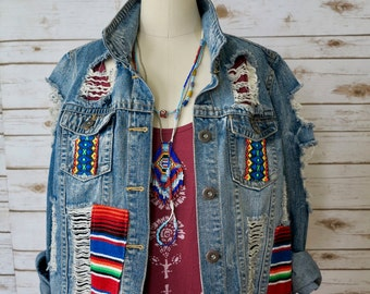 Woven Mexican Blanket Ethnic Native Bohemian Upcycled Eco Friendly Fringe Distressed Denim Jean Jacket Coat Festival Clothing Size Large
