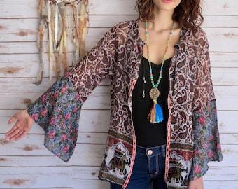Boho Floral Paisley Tapestry India Elephant Print Flowy Bell Sleeve Kimono Sweater One Size Hippie Boho
