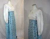 XMAS SALE Mary's Prairie | Vintage 1970s Handmade White + Blue Floral Lightweight Cotton Prairie Maxi Dress | XS 29 Bust | Festival Hippie B