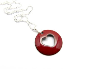 Dark Red Heart Necklace - Lightweight Heart Pendant Necklace with Delicate Sterling Silver Chain - Gift for Wife