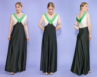 70s Paula Brooks Original black, ivory & green color block  V-neck maxi dress, size medium