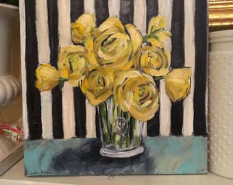 Yellow Roses Black original painting