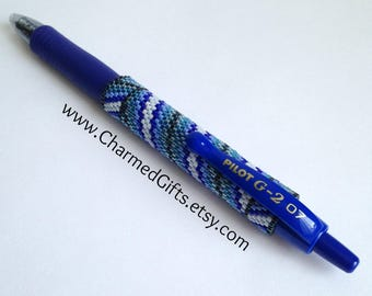 Pen with Beaded Sleeve Cover - Reusable - Blue Diagonal Stripes