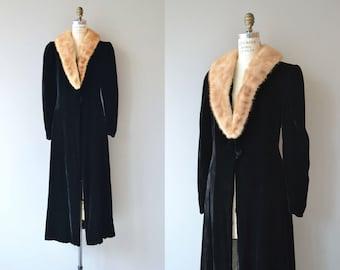 Medici silk velvet coat | vintage 1930s velvet coat | full length 30s velvet opera coat