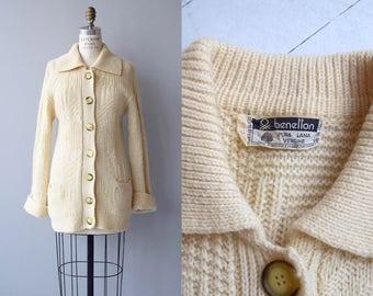 Benetton wool cardigan | vintage 1970s cream wool cardigan | Italian wool sweater