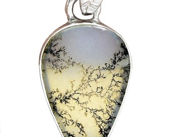 Dendrite Agate Petal-Shaped Pendant for Growth, Plants, Trees, Nerves, and Progress