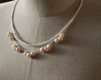 Linen Necklace  with  strand of Freshwater Pearls .Bridal . Bridesmaids. Baby shower.