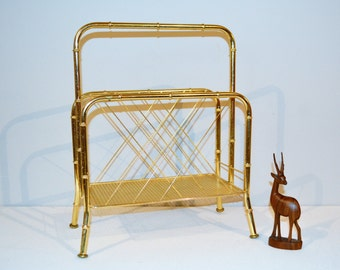 Vintage Hollywood Regency Floor Organizer / Magazine Rack