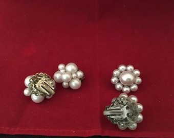 Vintage costume jewelry clip earrings