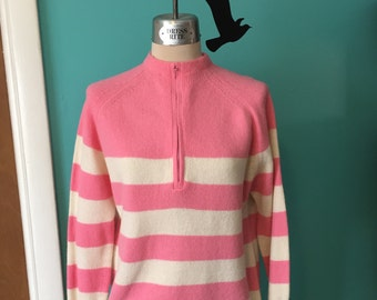 Bubblegum Babe- Early 60's Bubblegum Pink and Cream Stripe Zip Pullover Sweater