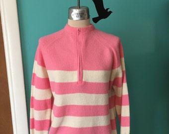 Bubblegum Babe- Early 60's Bubblegum Pink and Cream Stripe Zip Pullover Sweater
