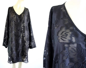 Oversize Black Sheer Long Sleeve Button Down Floral Print Tunic Dress Nightgown Woman's Dress