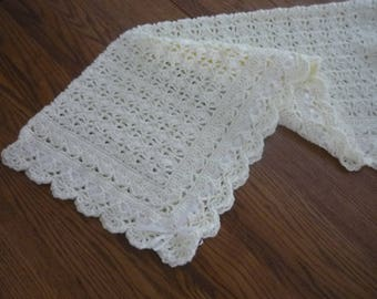 Crochet Baby Blanket Off White/Ivory Christening Blanket Heirloom Lace Victorian Style with Ribbon Trim - Direct Checkout -  MADE TO ORDER