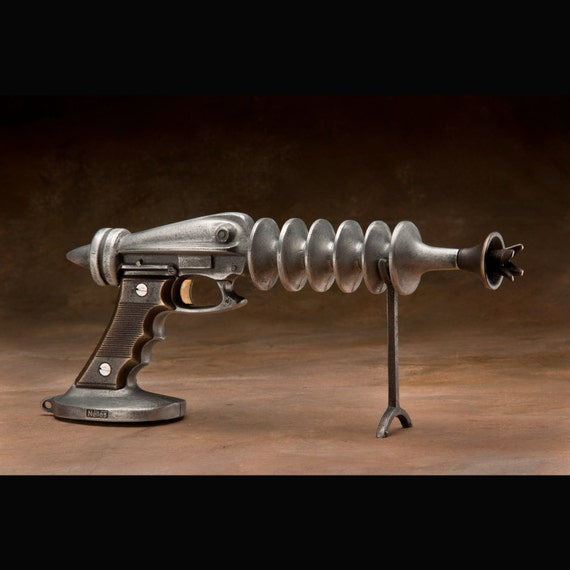 Ray Gun, Cast Aluminum and Bronze, with Spring Trigger for Cosmic Rays