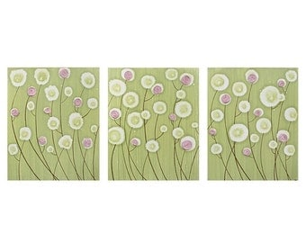 ON SALE Baby Girl Nursery Decor - Textured Flower Painting - Pink and Green Wall Art Triptych Canvas - Large 50x20