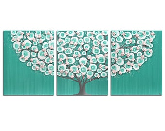 Nursery Art Painting of Tree in Teal and Pink on 3 Piece Canvas - Large 50x20