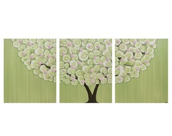 Tree Painting in Green with Pink Sculpted Flowers for Children's Room - Wall Art Canvas Triptych - Large 50x20