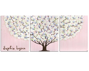 Girl Nursery Wall Art with Personalized Baby Name on Tree Painting - Textured Pink, Purple and Green Canvas Triptych - Large 50x20