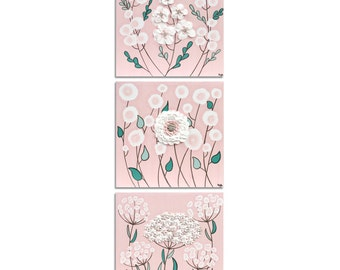 Wall Art Set of 3 for Girl's Nursery Decor - Pink and Teal 3D Sculpted Flower Paintings - Medium 32x10