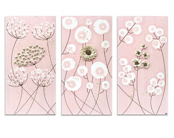 Set of 3 Wall Art for Girl's Nursery in Pink and Brown - Sculpted Flower Painting on Canvas - Medium 32x20