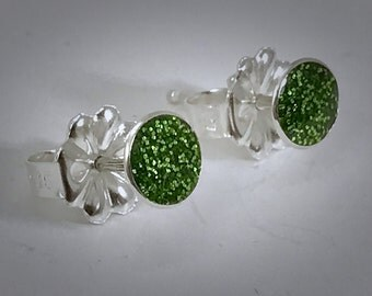 Sterling bauble stud earrings with pesto green resin
