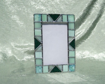 Stained Glass Picture Frame Spring Greens Glass Frame 4 x 6 Stained Glass Frame 4 x 6 Photo Frame Portrait Frame Landscape Frame Glass Frame